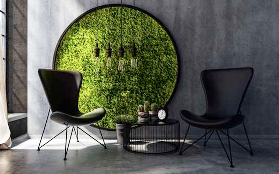 Moss Wall, Vertical Garden for commercial space, installed in Indiranagar, Bangalore